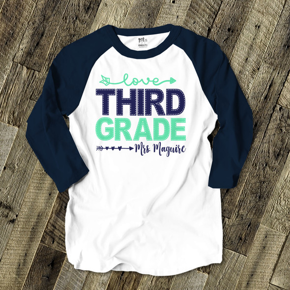 Teacher faux stitch any grade personalized adult raglan shirt