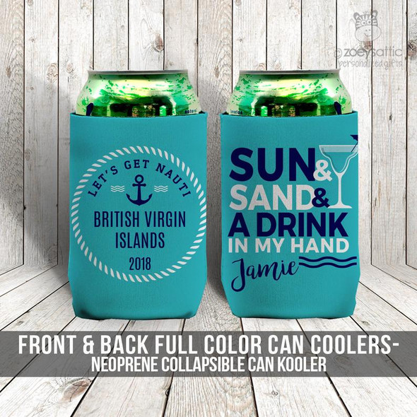 Nautical sun sand drink vacation can coolies