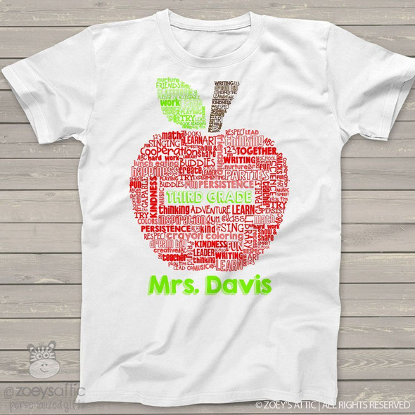 Teacher apple word collage personalized Tshirt