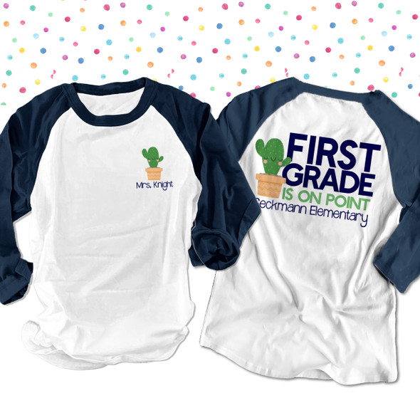 Teacher on point cactus any grade personalized raglan shirt