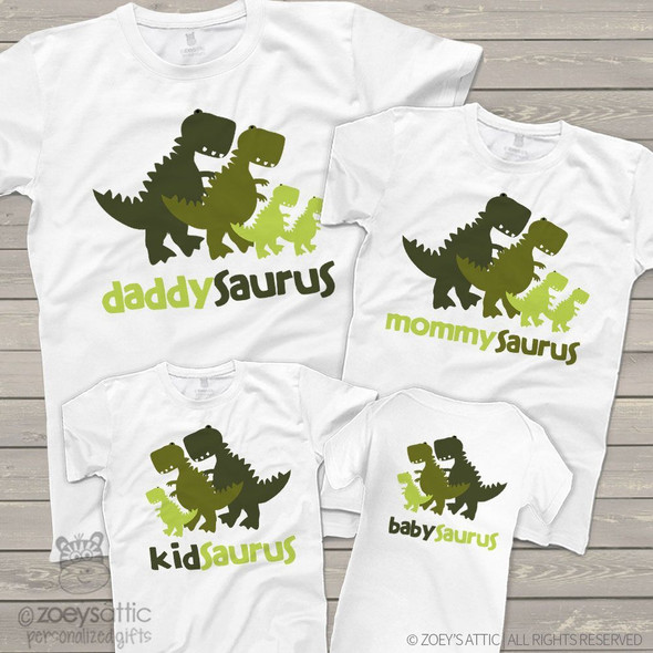 Dinosaur daddy mommy kid baby saurus matching FOUR shirt gift set