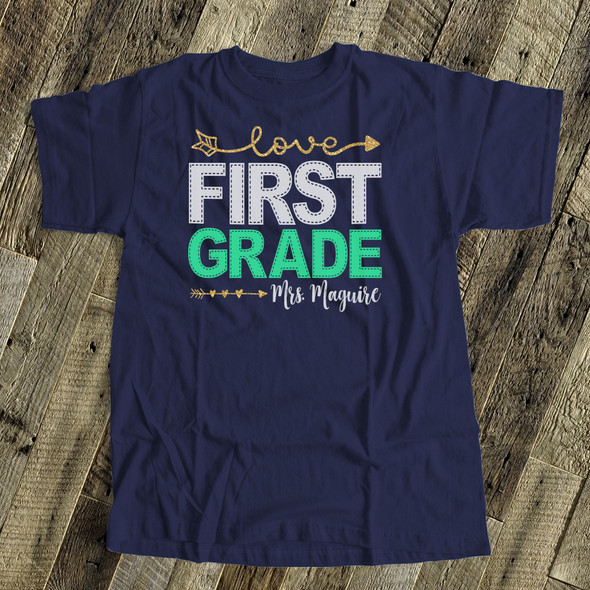 Teacher faux stitch any grade personalized Tshirt DARK