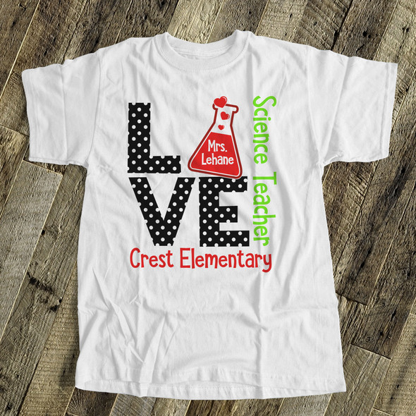 Science teacher love personalized Tshirt