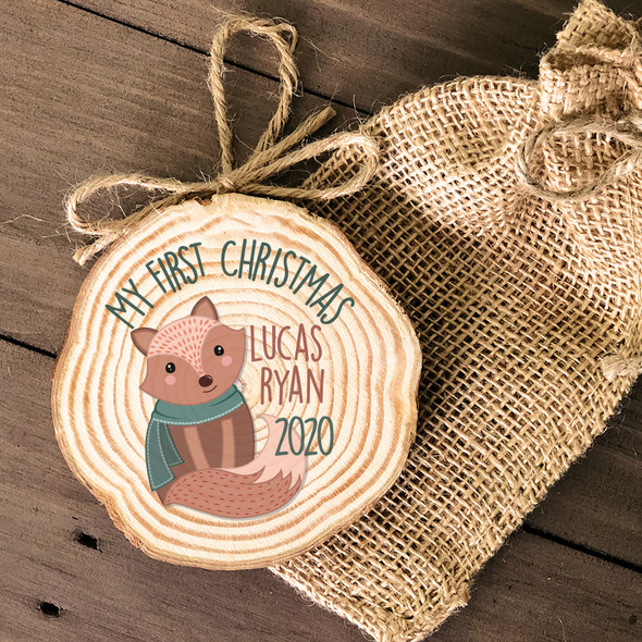 First Christmas woodland fox cut pine wood ornament