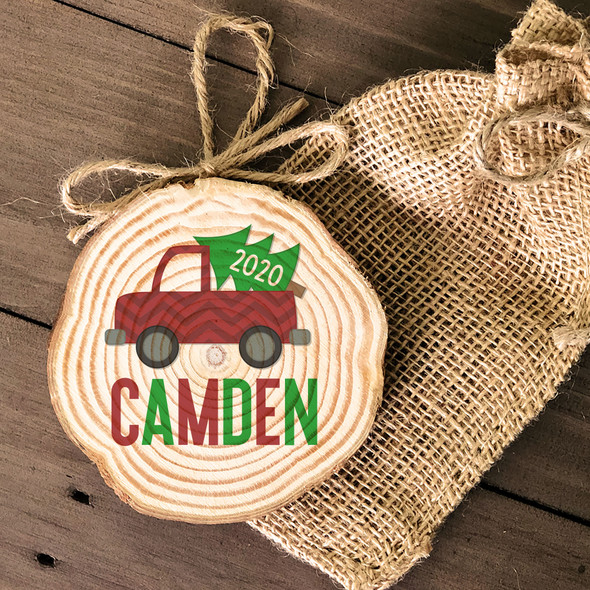 Christmas tree in truck personalized cut pine wood ornament