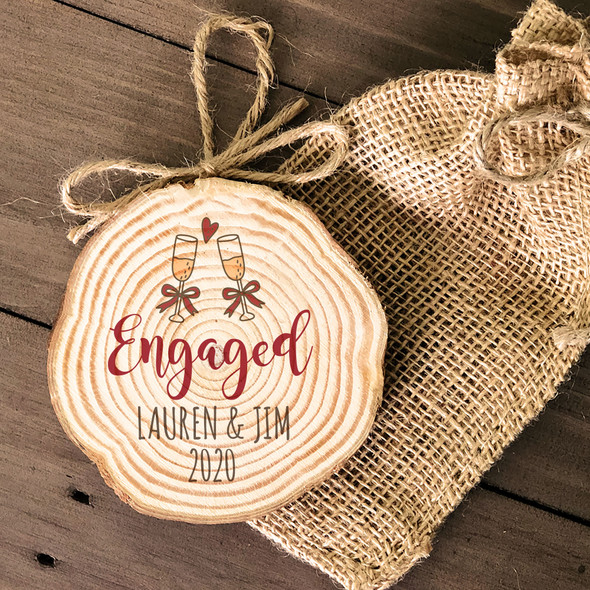 Engagement couple cut pine wood Christmas ornament