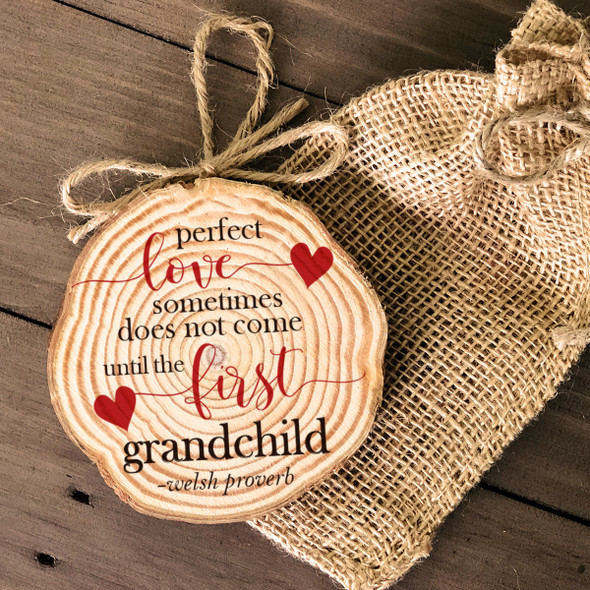 Grandparent perfect love cut pine wood Christmas ornament
