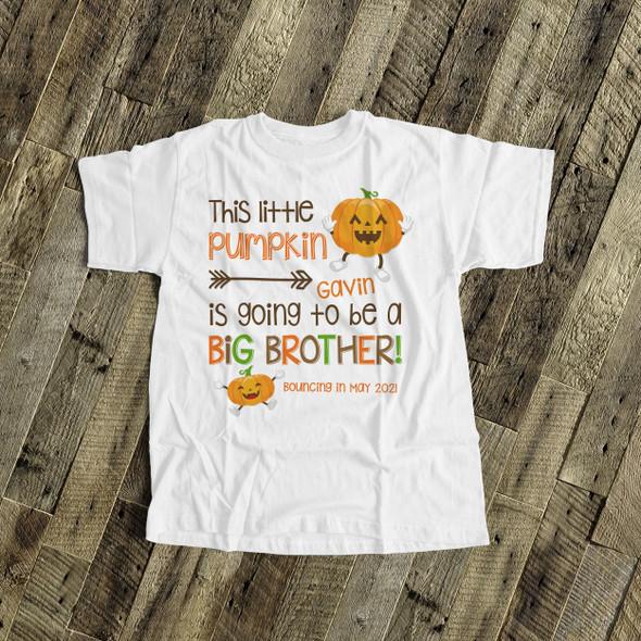 Fall big brother little pumpkin pregnancy announcement Tshirt