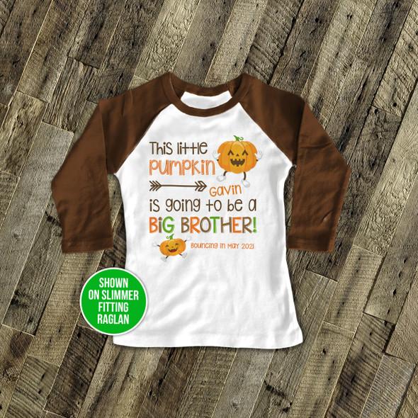 Fall big brother little pumpkin pregnancy announcement raglan shirt