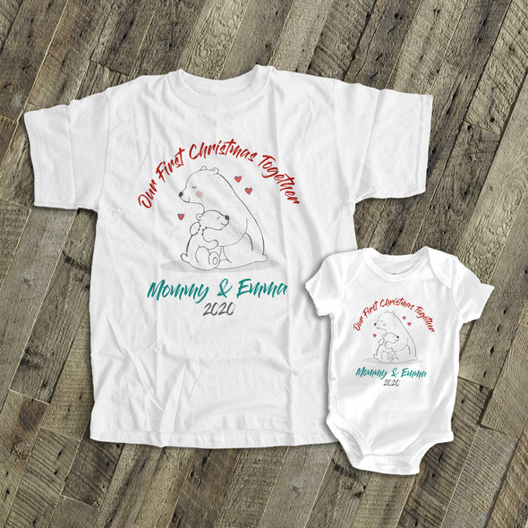 First Christmas mommy and baby bear matching shirt gift set