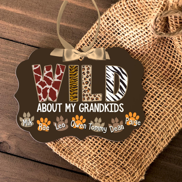 Wild about my grandkids paw print ornament