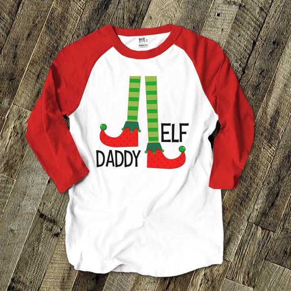 Daddy elf unisex ADULT raglan Christmas shirt