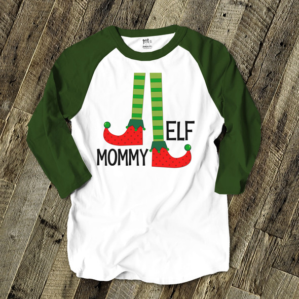 Mommy elf unisex ADULT raglan Christmas shirt