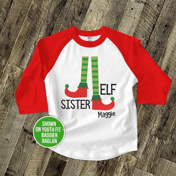 Sister elf raglan Christmas shirt