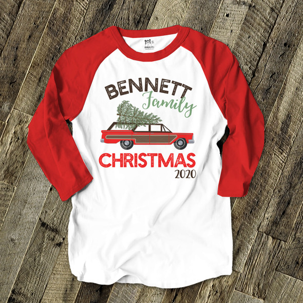 Retro family Christmas personalized unisex ADULT raglan shirt