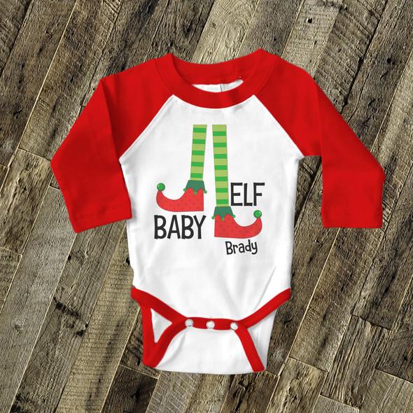 Baby elf raglan Christmas bodysuit