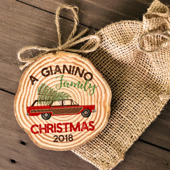 Retro family Christmas wood slice ornament