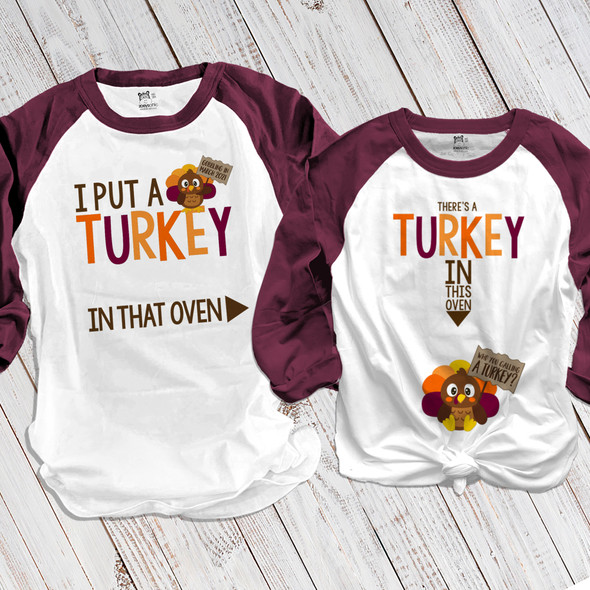 Thanksgiving turkey in oven pregnancy announcement unisex adult raglan shirt set