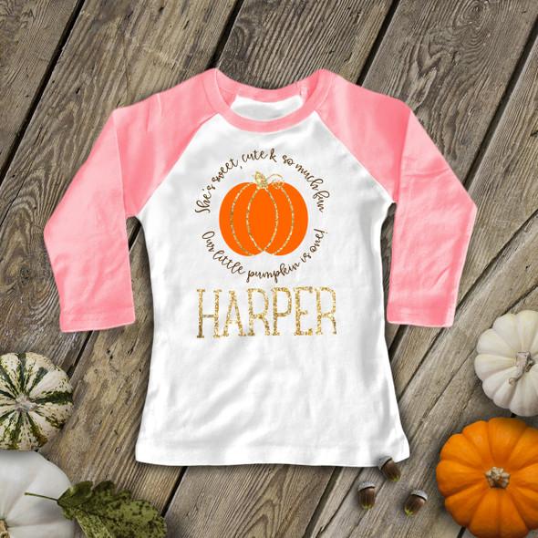 First birthday pumpkin gold glitter raglan shirt