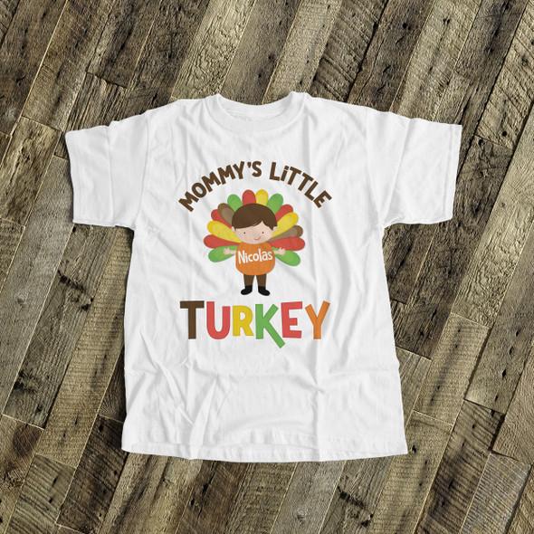 Thanksgiving shirt mommy's little turkey boy personalized Tshirt