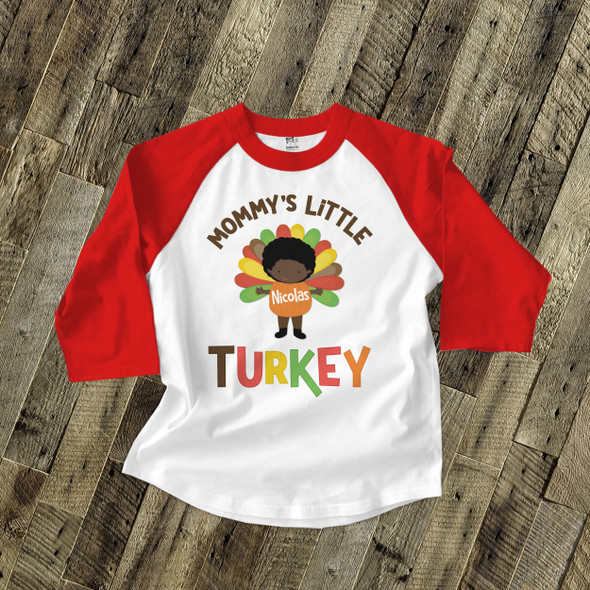 Thanksgiving mommy's little turkey boy personalized raglan shirt