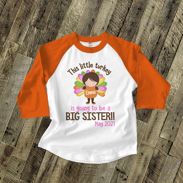 Big sister to be little turkey pregnancy announcement raglan shirt