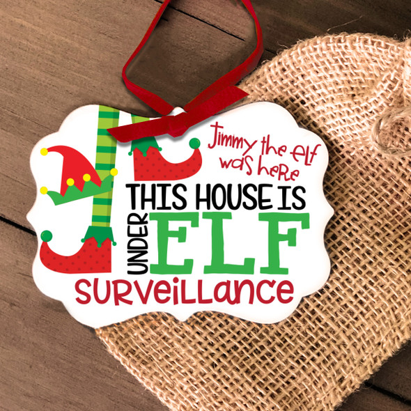 Elf surveillance Christmas ornament
