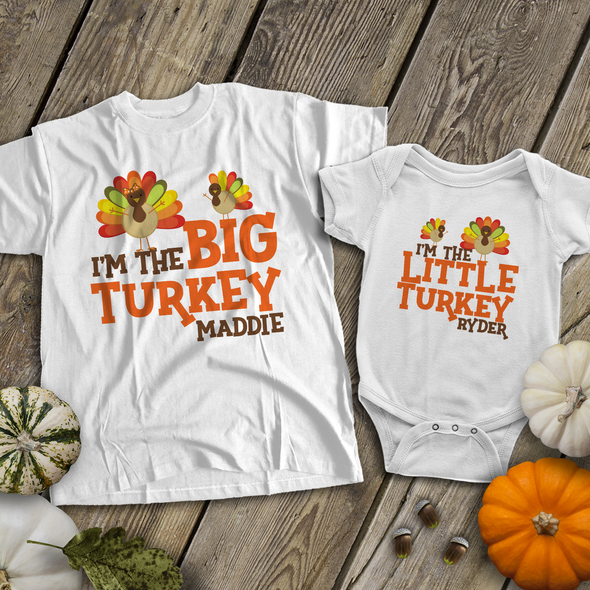 Thanksgiving big turkey little turkey sibling shirt set
