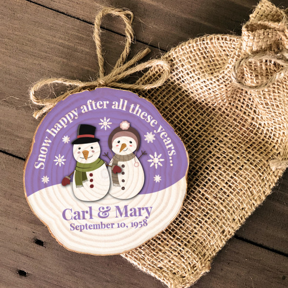 Anniversary snow happy wood slice ornament