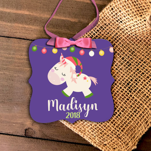 Christmas unicorn personalized ornament