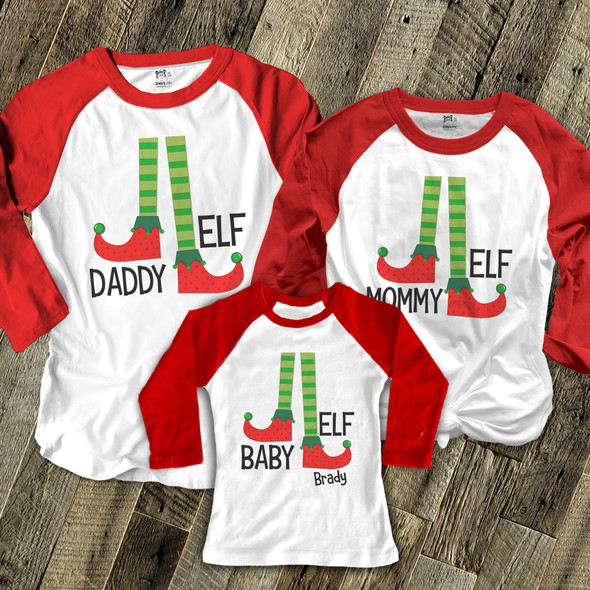 Christmas elf daddy mommy baby matching THREE raglan shirt gift set