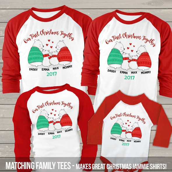 First Christmas together snow bear matching FOUR raglan shirt set
