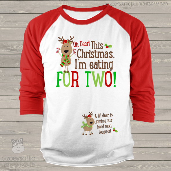 Christmas reindeer eating for two unisex adult raglan shirt