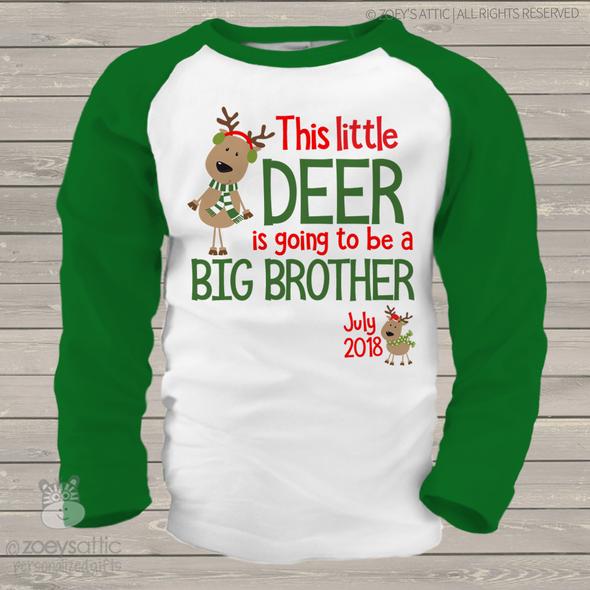 Christmas reindeer big brother to be raglan shirt