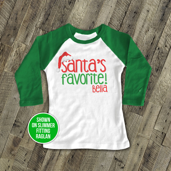 Christmas santa's favorite childrens personalized raglan shirt