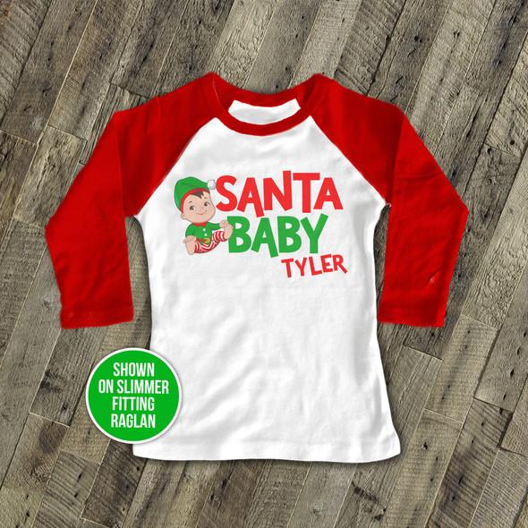 Christmas santa baby boy raglan shirt