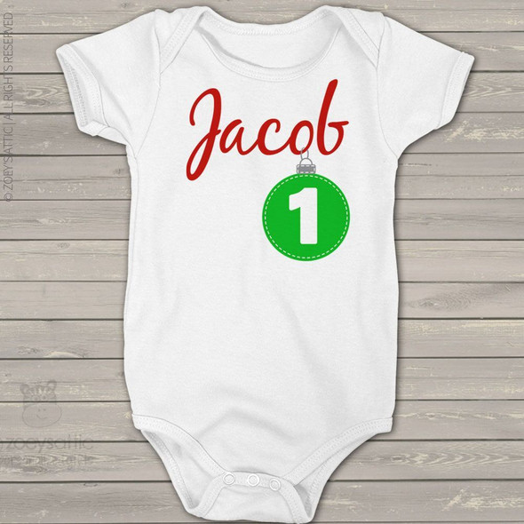 First birthday Christmas ornament personalized bodysuit or Tshirt