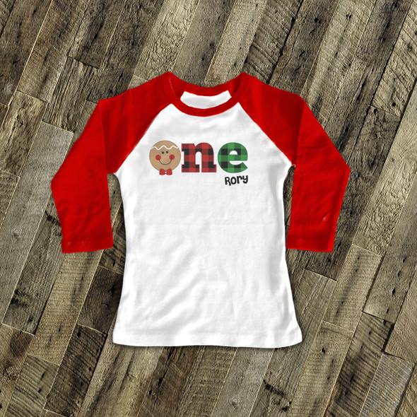 First birthday Christmas one raglan shirt