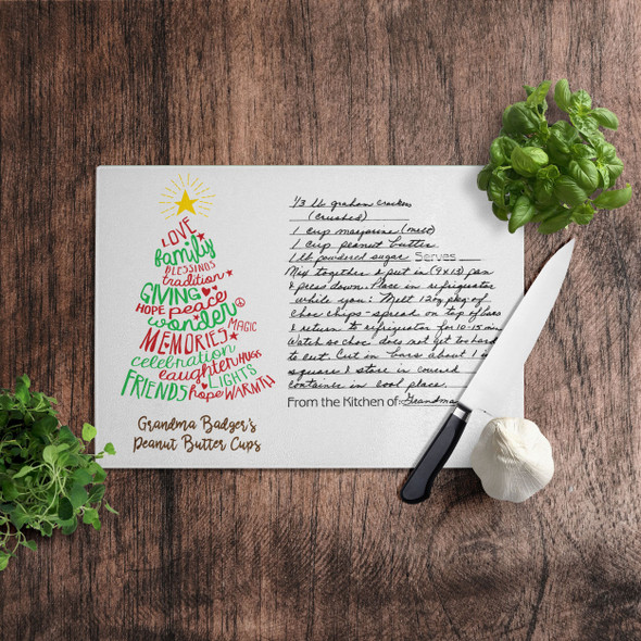 Christmas handwritten keepsake recipe cutting board