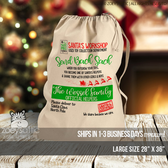 Christmas give back sack oversized canvas bag