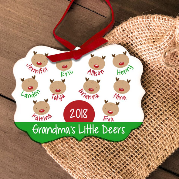 Grandma's little deers personalized Christmas ornament
