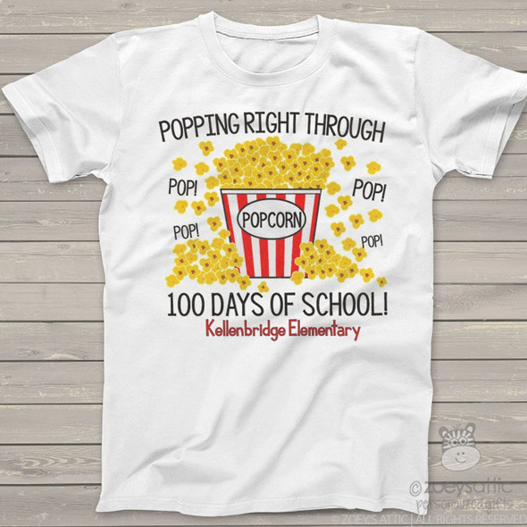 Teacher 100 days popcorn Tshirt