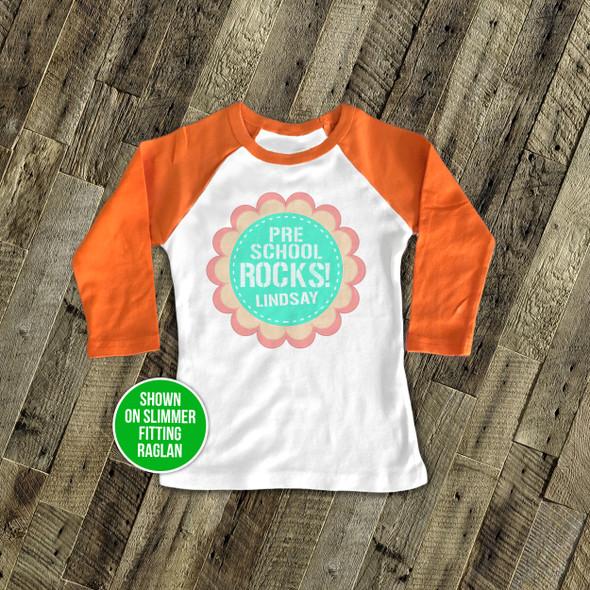 Preschool rocks flower personalized raglan shirt