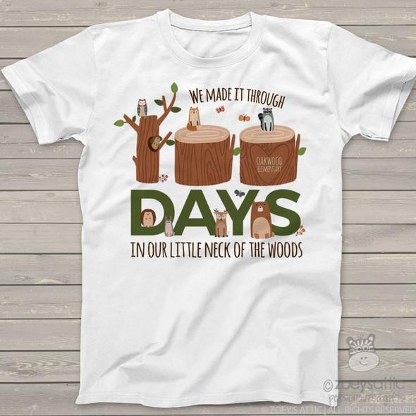 Teacher 100 days woodland animals Tshirt