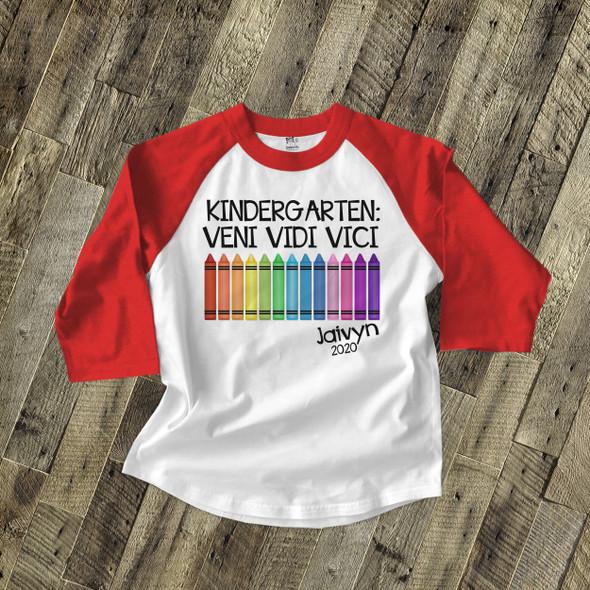 Kindergarten graduation veni vidi vici childrens raglan shirt