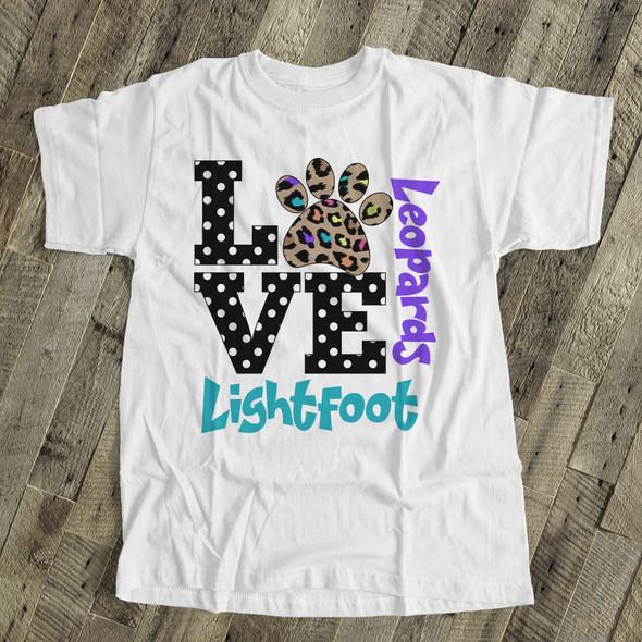 Teachers school mascot leopard paw custom Tshirt
