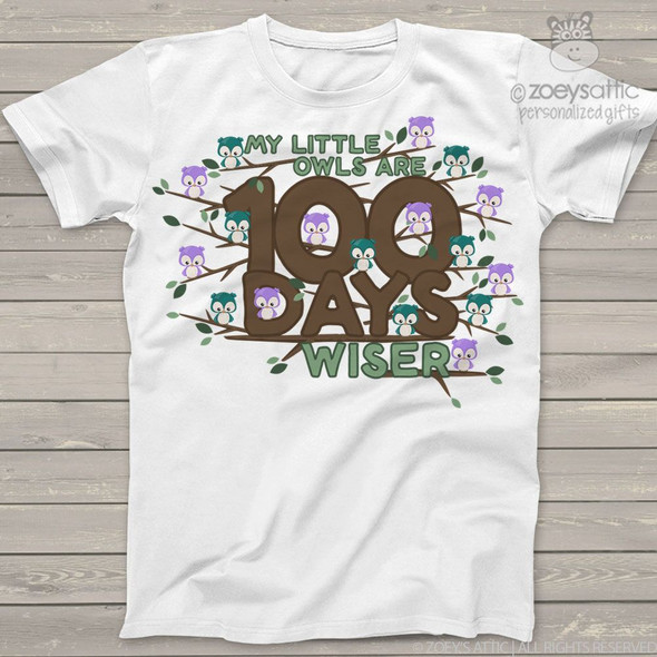 Teacher 100 days wiser owl Tshirt