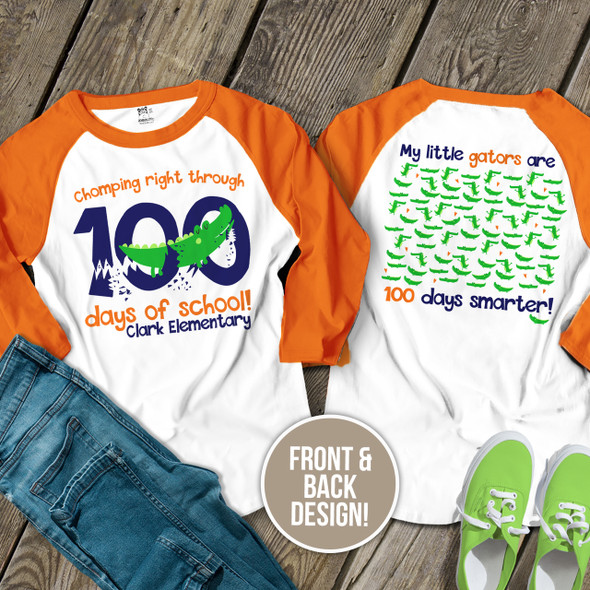Teacher 100 days smarter gators unisex adult raglan shirt