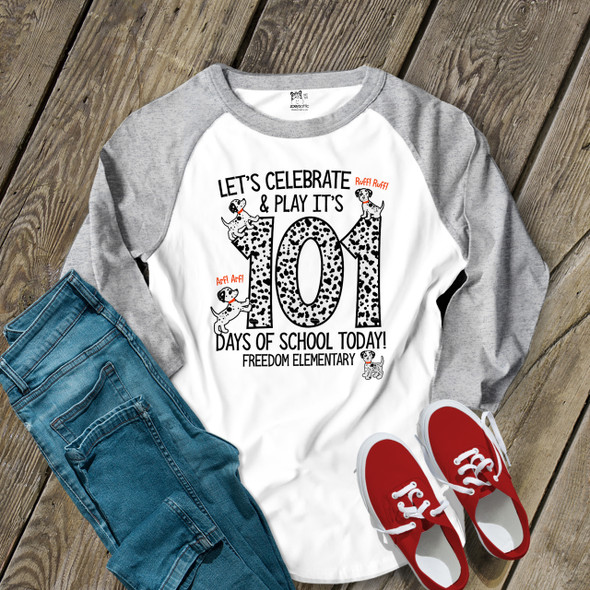 Teacher 101 days of school dalmation puppy unisex adult raglan shirt