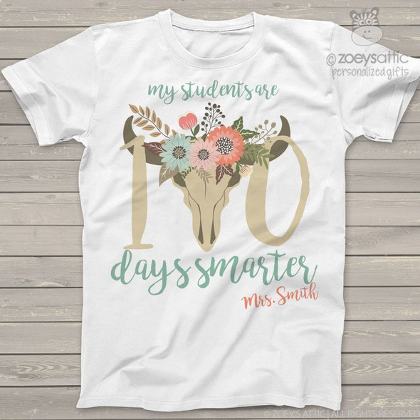 Teacher 100 days smarter cow head Tshirt